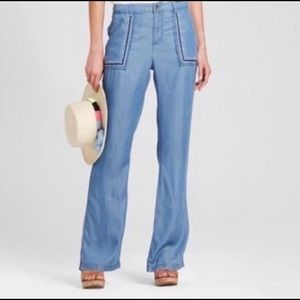 Knox Rose Chambray Embroidered Pants
